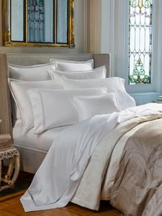 Giza 45 Trina Bedding by Sferra. Sferra's 100% Giza 45 Egyptian Cotton. Sateen linens with Italian made lace-inset at flanges.