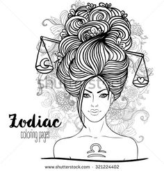 Zodiac: Illustration of Libra zodiac sign as a beautiful girl. Vector art. Black and white drawing isolated on white. Design for coloring book page for adults and kids. - stock vector