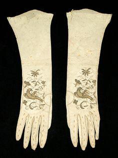 Gloves    Date:      early 18th century  Culture:      British  Medium:      Leather, metallic