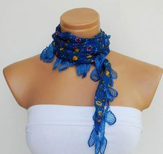 Royal blue flower Scarf Turkish Fabric Fringed by WomanStyleStore, $13.00
