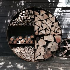 The Log Store No 1 is our smallest Log Store. It turns a scrappy pile of wood into a focal piece in your home or garden. The Log Store No. 1 is made from either Industrial Rusty Steel or aluminium wi. Outdoor Wood Burning Fireplace, Range Buche, Log Store, Fire Pit Area, Fire Pits, Firewood Storage, Wood Shed, Diy Fire Pit, Logs