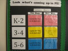 I like this idea because it is a way to keep students (and other faculty members and parents) up to date on what is happening in PE class. This way children can prepare ahead of time and ensure they have the proper clothing and right mentality when the step into the classroom.