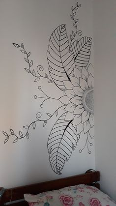 Drawing on the wall - Wandgestaltung - Bedroom wall / mandala / Design / flower - Wall Painting Decor, Mural Wall Art, Diy Wall Art, Diy Wand, Mandala Design, Mur Diy, Mandala Drawing, Mandala On Wall, Mandala Art Lesson