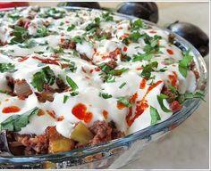 Bread Kebab with Yogurt and Eggplant - Ramadan Desserts, Biryani Recipe, Food Club, Recipe Mix, Arabic Food, Turkish Recipes, Vegan Baking, Great Recipes, Food And Drink