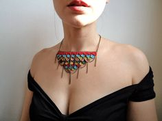 Chandelier cotton and chains necklace multicoloral by bibatron, $59.00