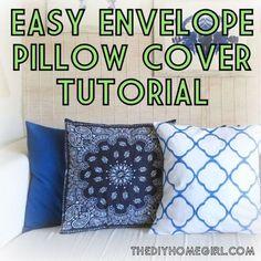 Easy envelope back pillow cover pattern and tutorial IKAT BANDANA BLUE NAVY COBALT