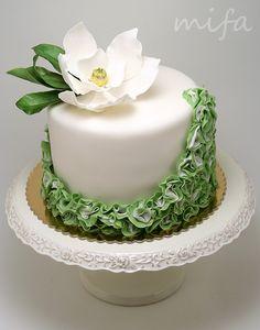 Southern Magnolia Ruffle Cake