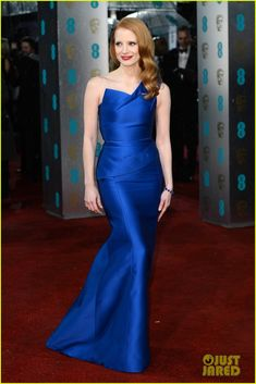 "Jessica Chastain.    BAFTAs 2013.    ""Roland Mouret gown, Jimmy Choo shoes, and Harry Winston jewels."""