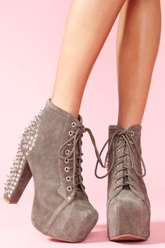Spike Platform Boot - Gray Suede