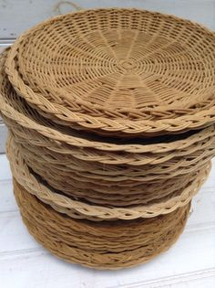 Wicker Plate Holders Woven Wicker Paper Plate Holders & Wicker Paper Plate Holders FOUR Picnic Colorful Painted Upcycled ...