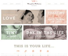 Amazing website layout for @Mary Kate McKenna Photography by @think baseline Love the colors, layout, and of course, photography! <3