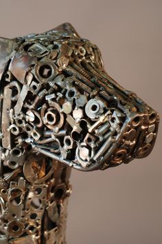 nuts, bolts, washers, scrap bits of metal, all upcycled into these fabulous sculptures.
