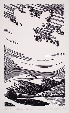 Fred Barraza, Multimedia Artist - Printmaking - Southwest New Mexico Cloud Illustration, Ink Illustrations, Linocut Prints, Art Prints, Block Prints, Art Sketches, Art Drawings, Cloud Drawing, Cloud Art