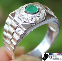 MEN'S BRAND NEW GENUINE COLOMBIAN EMERALD & W.TOPAZ RING SOLID 925SS S#9.5 NR FREE!! GEM REPORT & GIFT BOX: A $30 VALUE!! YOUR FREE