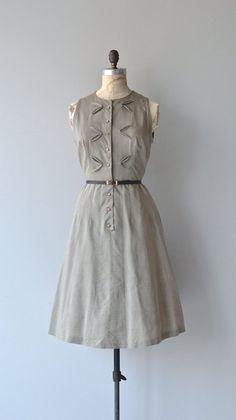 Feuille Fendue dress vintage 50s dress cotton by DearGolden