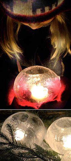 pallonmuotoosia jäälyhtyjä