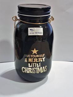 Windlicht Weihnachten Schraubglas Laterne Trend schwarz gold Glas Xmas Deko