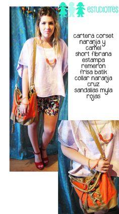 sudadera batik + collar naranja cruz + short estampado + cartera corset naranja + sandalias mila fuego.