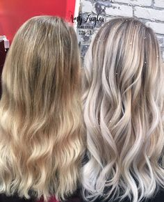 cool Avant-Apres : Before & After Transformation Snow white blonde platinum balayage ombre by Amy Z...