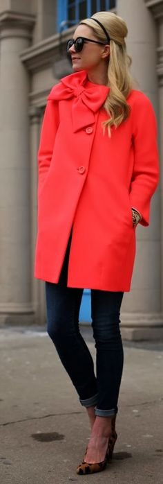 Kate Spade Collarless Front Bowknot Coat by Atlantic - Pacific. Looks like our pink coat coming in fall. Looks Street Style, Looks Style, Style Me, Hair Style, Look Star, Look Fashion, Womens Fashion, Normcore, Looks Chic
