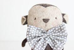 Stuffed Animal Custom  Monkey van MinisByVane op Etsy