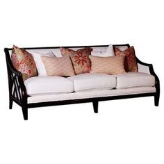 Sofa with solid wood frame and corded white upholstery. Comes with embroidered accent down pillow.  Product: SofaConstruction Material: Wood, fabric and down-fillColor: WhiteDimensions: 38 H x 91 W Cleaning and Care: Wipe with damp cloth