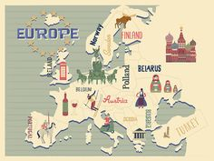 Europe hip map europe illustrated map mid by considergraphics. find this pin and more on travel poster Stranger Things Quiz, Pop Art, Fun Personality Quizzes, Paris Winter, Budget Book, Maputo, Scrapbook Sketches, Travel Scrapbook, Paris Travel