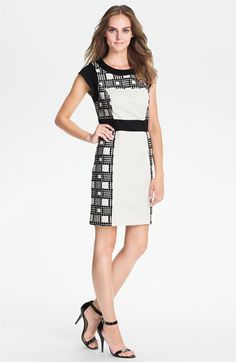 Illustrative pointillism renders the checkered side panels of a two-tone, ponte-knit sheath accented by solid trim at the waist, scooped neck and cap sleeves.  Laundry by Shelli Segal Print Sheath Dress | Nordstrom