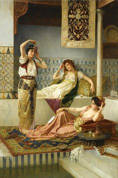 In The Harem Painting by Vincent Stiepevich Classic Paintings, Beautiful Paintings, Harem Girl, Victorian Paintings, Academic Art, Arabic Art, Pre Raphaelite, Classical Art, Renoir