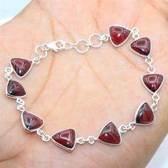 Solid 925 Sterling Silver Jewelry Red Mozambique Garnet Gemstone Bracelet #Handmade #Bracelet #Birthday  #SilverJewelry
