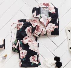 The Emily & Meritt Bed Of Roses Pajama Set - Pajama Sets - Ideas of Pajama Sets Pyjamas, Cozy Pajamas, Cute Sleepwear, Lingerie Sleepwear, Loungewear, Satin Pyjama Set, Pajama Set, Lazy Day Outfits, Cute Outfits