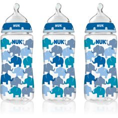 NUK 10-oz Silicone Orthodontic Bottles, Medium Flow, Set of 3, Fashion Boy Design, BPA-Free