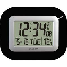 La Crosse Technology Digital Clock with Indoor Temperature Monitor, Black