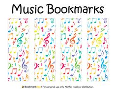 Free printable music bookmarks in PDF format. The template includes four different bookmark designs per page. Free Printable Bookmarks, Bookmark Template, Corner Bookmarks, Printable Scrapbook Paper, Bookmarks Kids, Free Printables, Fete Ideas, School Displays, Music Crafts