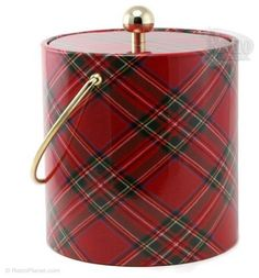 Red Plaid Ice Bucket  The retro red plaid on this ice bucket gives it a nostalgic feel that would fit in great with rustic decor or a preppy Christmas event