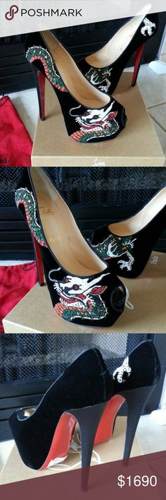 """NIB Highness 160 Dragon Tatoo Velvet Platform Pump I am selling my new in box Christian Loubouton Velvet Dragon Tatoo Highness Pumps.  Bought from Neiman Marcus, never worn, and stored in separate CL dust bags - and that's how I will ship them, two dust bags included.  *Velvet with unique beaded dragon motif.  *Snipped peep toe and grosgrain trim.  *6"""" satin-covered heels and 3"""" hidden platforms.  *Leather lining and signature red leather outsole.  Made in Italy.  Size 39.5.  These are sold…"""