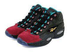 BURN RUBBER × REEBOK QUESTION MID BLACK/GARNET/TEAL/TEAL #sneaker