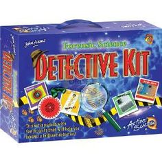 John Adams Action Science Forensic Science Detective Kit  Includes over 50 activities for discovering behind-the-scenes methods of crime detection and  http://www.comparestoreprices.co.uk/science-and-discovery-toys/john-adams-action-science-forensic-science-detective-kit.asp