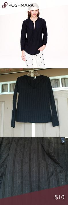 J.Crew Black Peasant Blouse Hand-drawn trim gives this floaty peasant top a little bit of edge. Seriously very linty, from storage time.   Cotton. Bracelet sleeves. Machine wash. 30% off 3+ bundles. J. Crew Tops Blouses