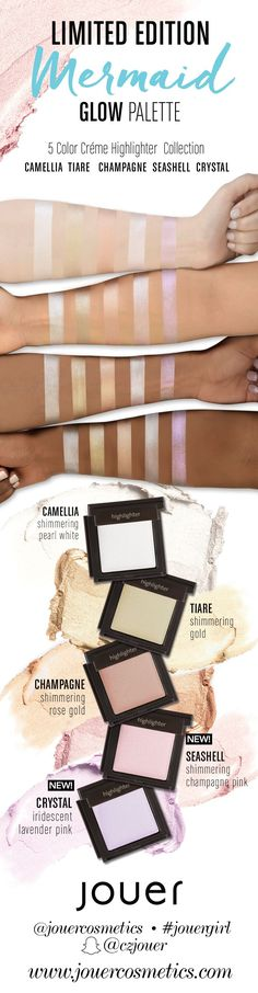 Glow like a mermaid with the Limited Edition Mermaid Glow Palette by Jouer Cosmetics. It includes 5 cream highlighters perfect for strobing and highlighting.