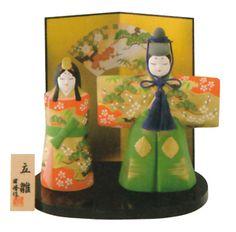 【雛人形/ひな人形】<br>錦彩立雛(大)(陶器):楽天