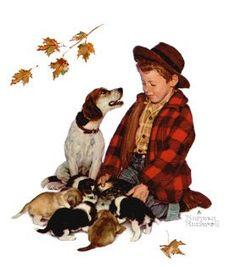 N Rockwell: boy with beagle's puppies