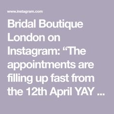 """Bridal Boutique London on Instagram: """"The appointments are filling up fast from the 12th April YAY we can't wait to see you! But in the meantime- If you have had a consultation…"""" Mirror Mirror, Bridal Boutique, Thing 1 Thing 2, Appointments, Brides, London, Canning, Instagram, Wedding Bride"""