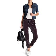 Harlowe & Graham Velvet Jogger Pant (610 MXN) ❤ liked on Polyvore featuring pants, charcoal, drawstring waist pants, side stripe pants, charcoal pants, velvet trousers and charcoal grey pants