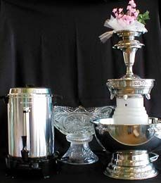 We have all the based covered for your Wedding. Champagne Fpountains, Coffee Machines and Punch Bowls all for Rent.