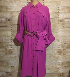 NEW SOFT SURROUNDINGS M Fuchsia Button Belted Shirtdress Rolltab Long Sleeves  | eBay // Casual chic: The look on everyone's runway this season! This knee-length, softly-draped, 100% Cotton Gauze shirtdress offers easy one-step dressing. A versatile transitional piece with wooden buttons, faux bodice pockets, roll-tab long sleeves and two (2) detachable self-belts, this dress is the perfect addition to any closet!
