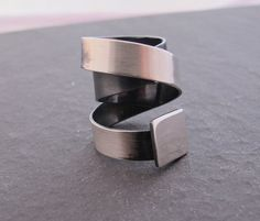 Wide band ring swirl made to order Modern  by ZizouArT on Etsy