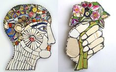 Genetic scientists and their mutant creations are depicted in Cleo Mussi's   colourful ceramic mosaics.