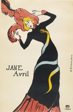 JANE AVRIL Henri de Toulouse-Lautrec Lithograph printed in colors, 1899, on wove paper, paper-backed, printed by H. Stern, Paris, published by Jane Avril, Paris