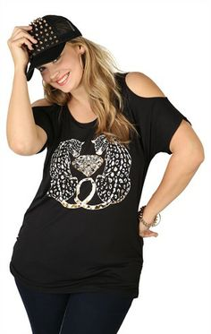 Deb Shops Plus Size Short Sleeve Top with Cold Shoulders and Mirrored Jaguars $13.74